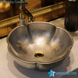LT-1607-01 Promotional silver plated floral stamp bathroom ceramic wash basin