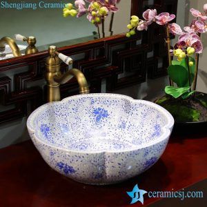 LT-1607-02/05/21/27/28/34 Best quality Bohemia style floral mark different color series scallop shape porcelain counter top sink
