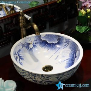 LT-1607-03 Chinese traditional style blue white elegant lotus egret mark surface engraved porcelain cabinet top sink bowl