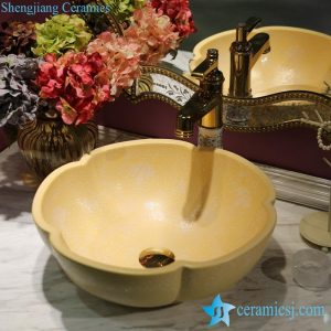 LT-1607-08/10/14/36/41 Matt glazed solid color floral stamping bathroom chinaware decorative sink basin