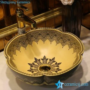 LT-1607-16 Matte yellow color glazed Gothic architecture style flower shape enamel home furnishing wash basin sink