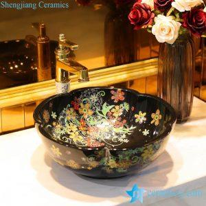 LT-1607-25/33/37 Romantic flower mark showering room ceramic counter top sink basin bowl