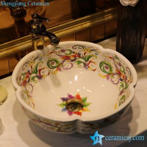 LT-1607-23/35/43 Colorful phoenix tail pattern different shape ceramic bathroom wash basin