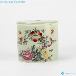 RYBE11-M Longevity and happiness mark ceramic cricket jar with flat lid and pore on the lid