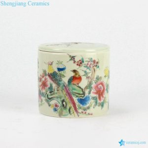 RYBE11-N Famille rose bird and flower pattern new product chinaware cricket jar