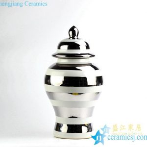 RYRJ16 Sliver glaze white stripe post-modernity style ceramic ginger jar