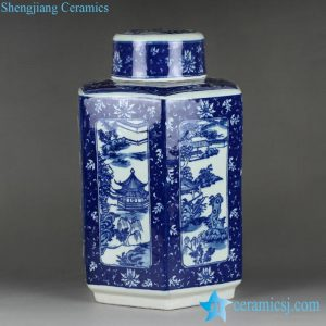 RYTM50 Antique reproduction blue and white hand paint southern China landscape pattern ceramic tin jar