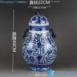 RYTM52 Creative hand paint interlock lotus branch pattern blue white chinaware irregular shape jar