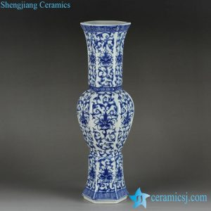RYTM54 6 sides romantic blue and white floral pattern ceramic centerpiece vase