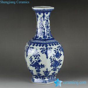 RYTM56 Factory outlet cheap 6 sides blue white floral pattern ceramic vase