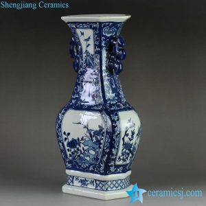 RYTM59 Blue white floral pattern hand paint spectacular flower vase