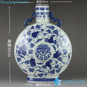 RYTM60 Unique design blue and white hand paint cucurbit pattern ceramic vase with handles