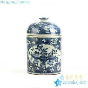 RYZK09 Blue and white hand paint floral pattern ceramic canister jar