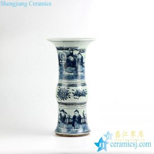 RYZK10 New arrival blue and white hand paint ancient Chinese figure pattern unique ceramic vase