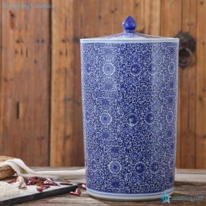 RZAP05-B Blue and white floral mark vertical tube shape ceramic storage jar