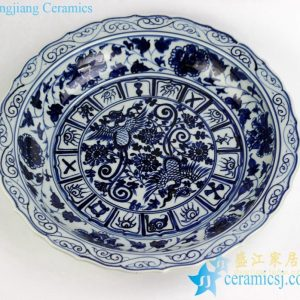 RZEZ09-E Hand paint phoenix pattern carved floral edge blue and white large ceramic plate