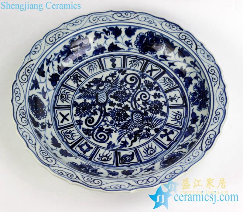 Huge Antique Chinese Blue/&White Porcelain Hand-painted *Phoenix* bowl