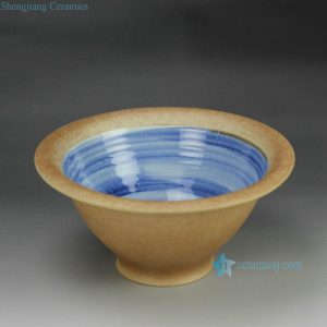 RZFZ-B-12 handidraft sky blue insde glaze pottery clay style ceramic fruit bowl