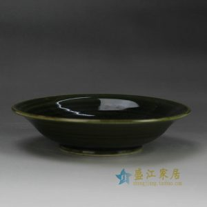 RZFZ-B-15 dark green glaze hand made pottery fruit plate