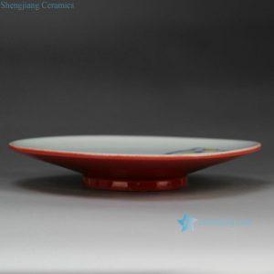 RZFZ-B-16 China red outside glaze lotus seed pattern hand made ceramic fruit platter