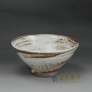 RZFZ-B-17 hand craft crude clay material cream white glaze ceramic funnel shape bowl