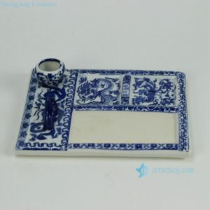 RZGE05 Blue and white Chinese calligraphy ink slab with pen rack and ink pot