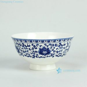 RZGF02 blue and white floral mark high heel ceramic rice bowl