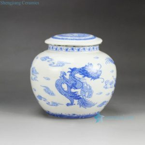 RZGK01 Airtight hand paint blue and white Chinese dragon pattern sealed ceramic mini jar
