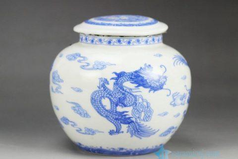 RZGK01 Airtight hand paint blue and white Chinese dragon pattern sealed ceramic mini jar
