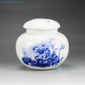 RZGL01 Little blue and white lotus tea jar