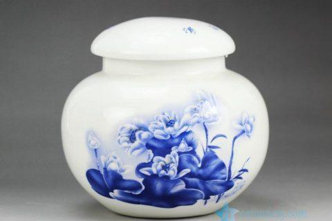 RZGL01 Little blue and white lotus tea jar
