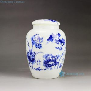 RZGL02 Low price blue and white mandarin fish and lotus pattern ceramic mason jar