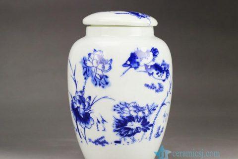 RZGL02 Low price blue and white mandarin fish and lotus pattern ceramic mason jar