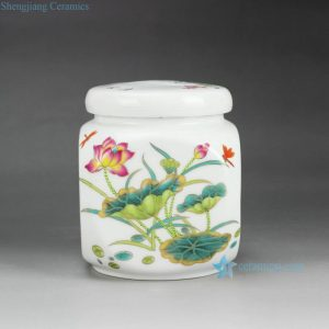 RZGL03 Airtight colorful lotus dragonfly mark small ceramic square tea jar