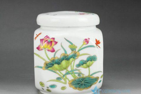 RZGL03 Airtight colorful lotus dragonfly mark small ceramic square tea jar