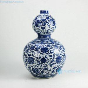 RZGM01 Hand paint interlock lotus pattern calabash shape big ceramic vase