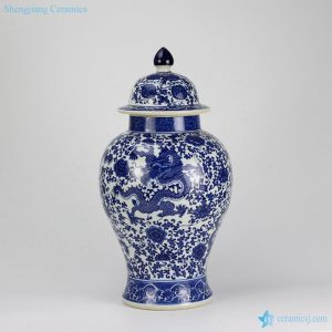 RZGM02 Blue and white dragon floral pattern ceramic gift jar
