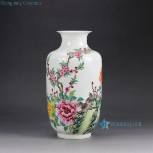 RZGR01 Wax gourd shape hand paint famille rose big porcelain flower vase