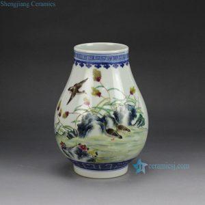 RZGU01 hand paint famille rose wild goose pattern barrel shape porcelain vase