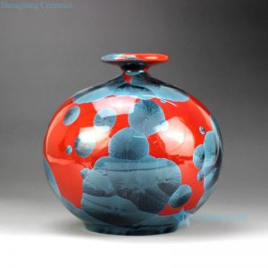 RZGW01-A Photochromic crystaline glaze round abdomen red ceramic vase