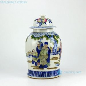 RZHD01 Doucai contrasting color the three gods of fortune, prosperity and longevity pattern blue and white porcelain antique jar