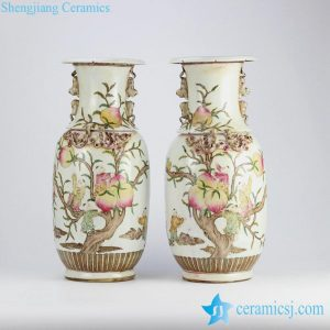 RZHD02 Vintage famille rose hand paint longevity peach and Chinese fair children pattern ceramic pair vases