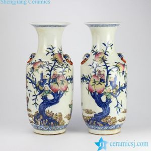RZHD03 Reproduction antique style blue and white clashing color glaze hand paint children picking longevity peach pattern ceramic pair vases