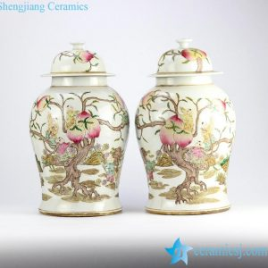 RZHD04 Famille rose hand paint longevity peach and children pattern vintage ceramic pair jars