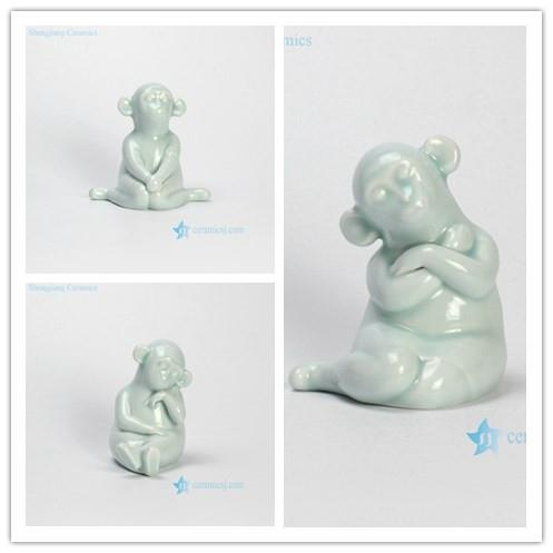 RZHH01-A/B/C Celadon glaze the tea favors ceramic monkey sculpture