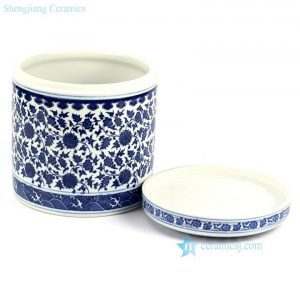 RZHI01 Hand paint blue and white elegant ceramic tea jar