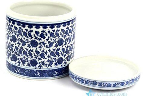 RZHI01 Hand paint blue and white elegant ceramic tea jar