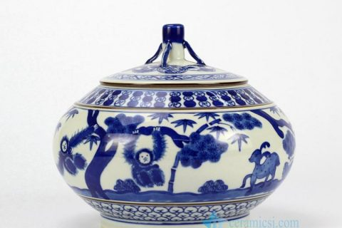 RZHJ01-A Japanese style hand paint monkey and deer pattern ceramic hermetic jar