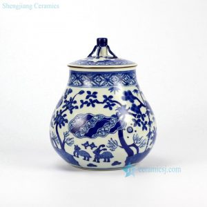 RZHJ02 Hand paint animal forest pattern blue white porcelain cookie jar