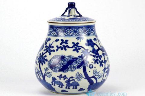 RZHJ02 Hand paint animal forest pattern blue white porcelain cookie jar